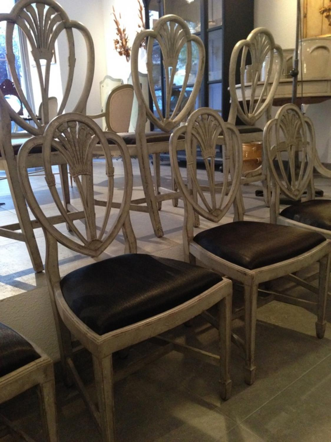8 swedish gustavian style dining chairs in seating for Swedish style dining chairs