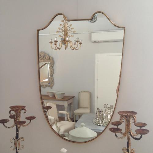 Italian Gilt Brass Mirror, Circa 1950