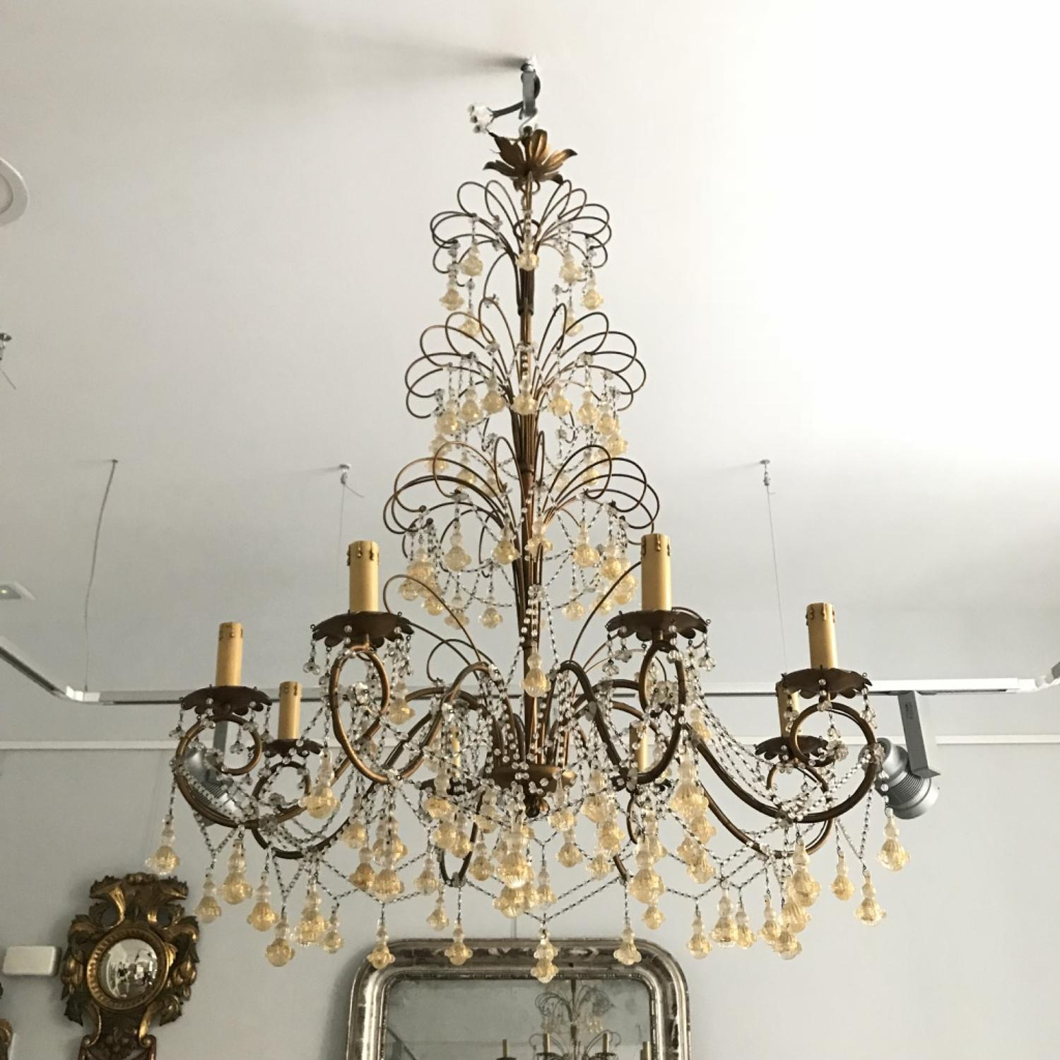 Murano Chandelier with Pendants, Circa 1950