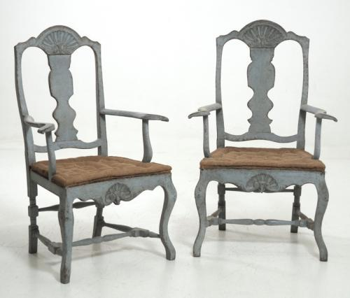 Pair of Swedish Rococo Style Armchairs
