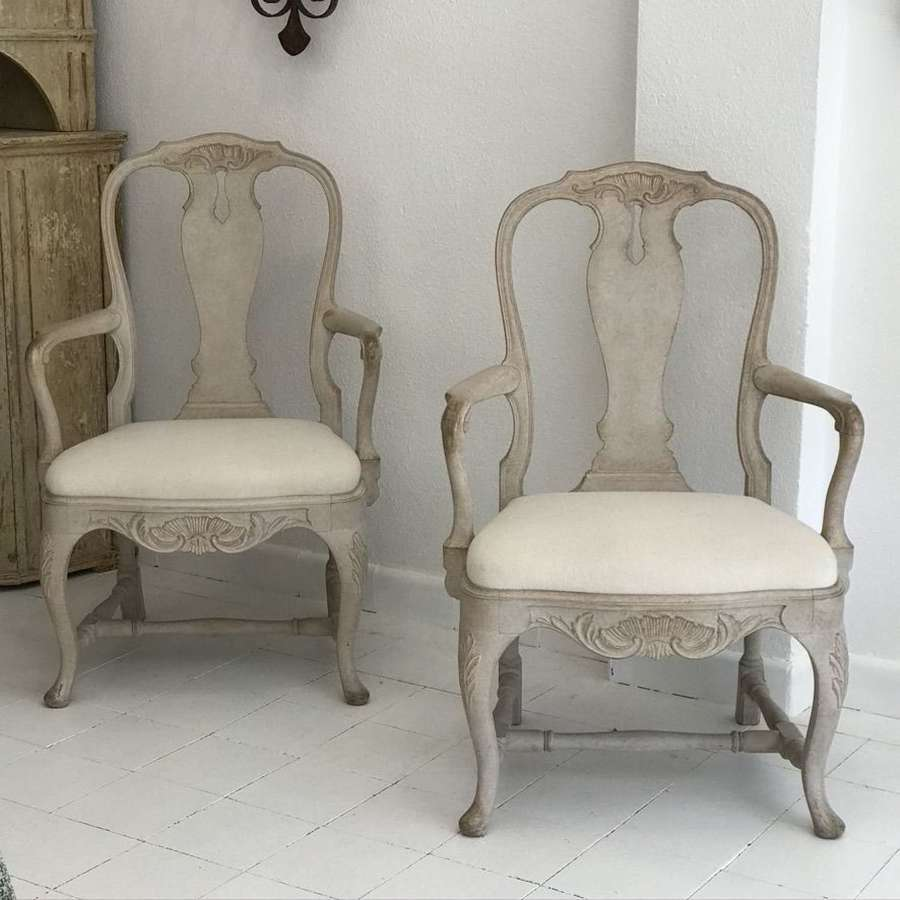 Pair of Swedish Rococo Style Armchairs, Circa 1900