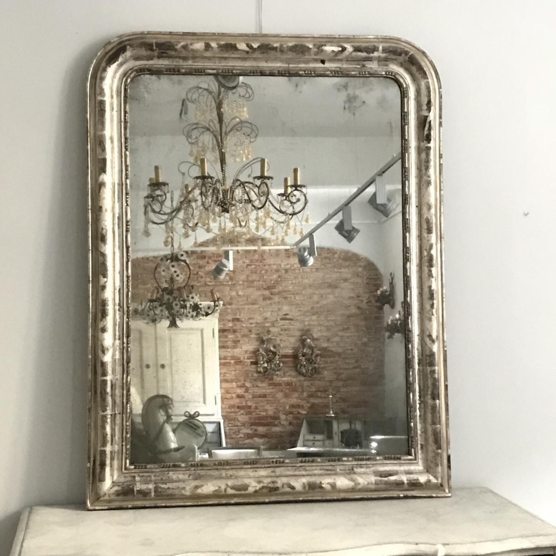 French Charles X Silver Leaf Mirror, Circa 1830