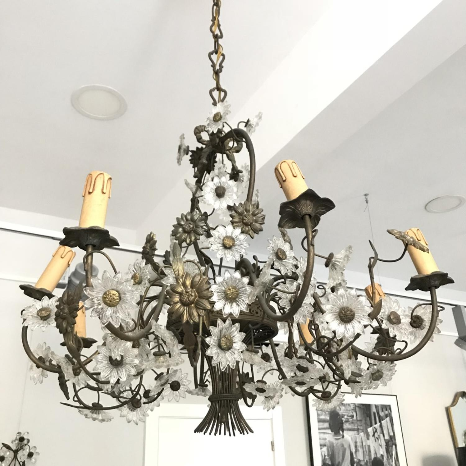 Italian Flower Basket Chandelier, Circa 1930-1940