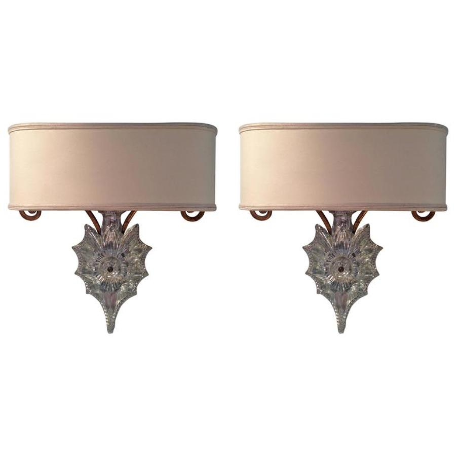 Pair of Maison Baguès Wall Lights, Circa 1940-1950