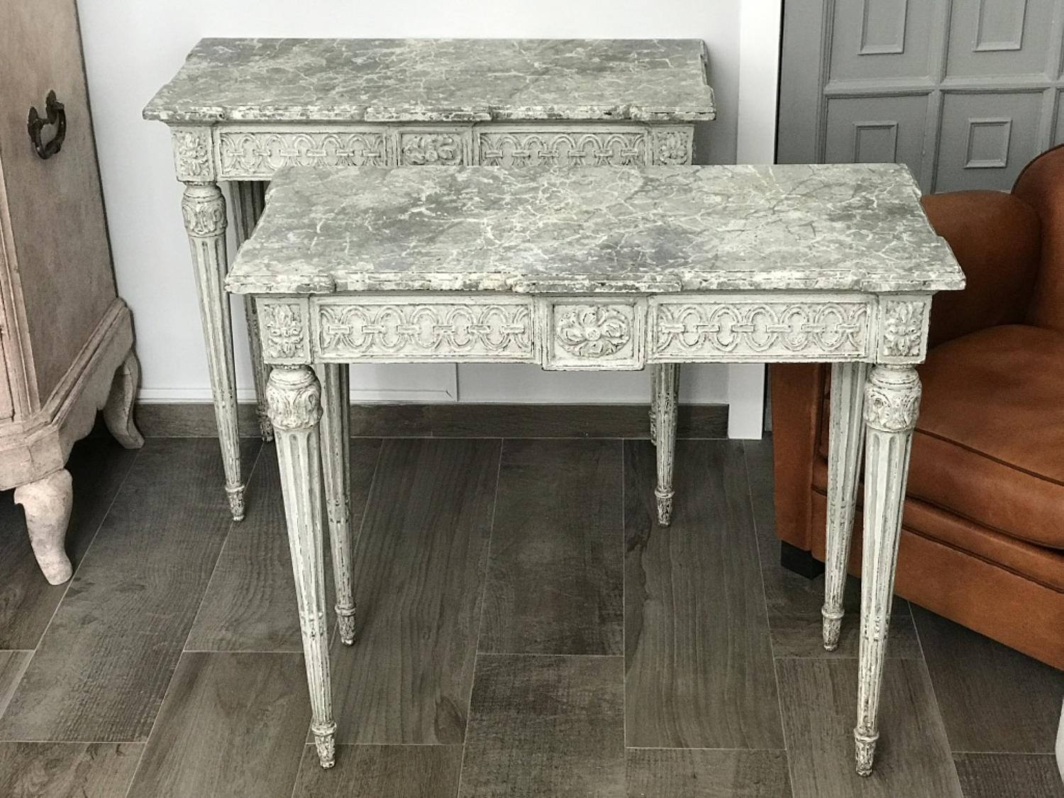 Pair of French Louis XVI Style Consoles