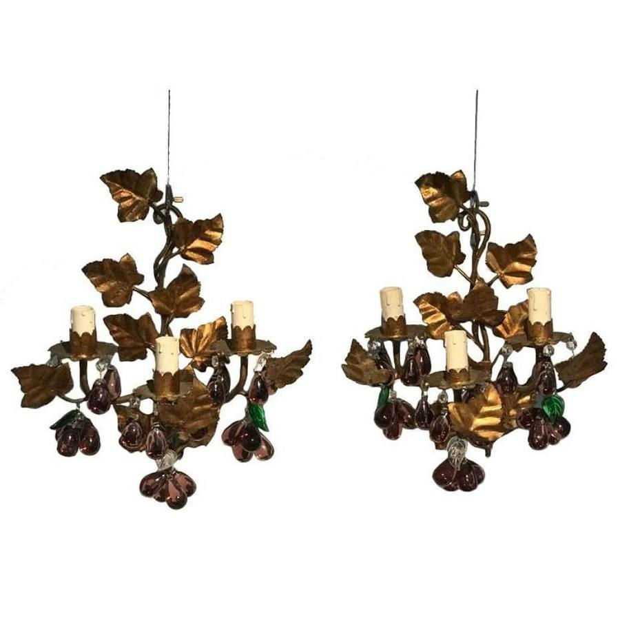 Pair of Italian Crystal Pendants Wall Lights, Circa 1950