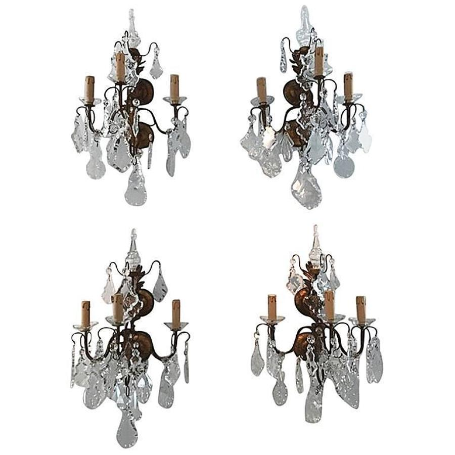 Italian Set of 4 Crystal Wall Lights, Circa 1900