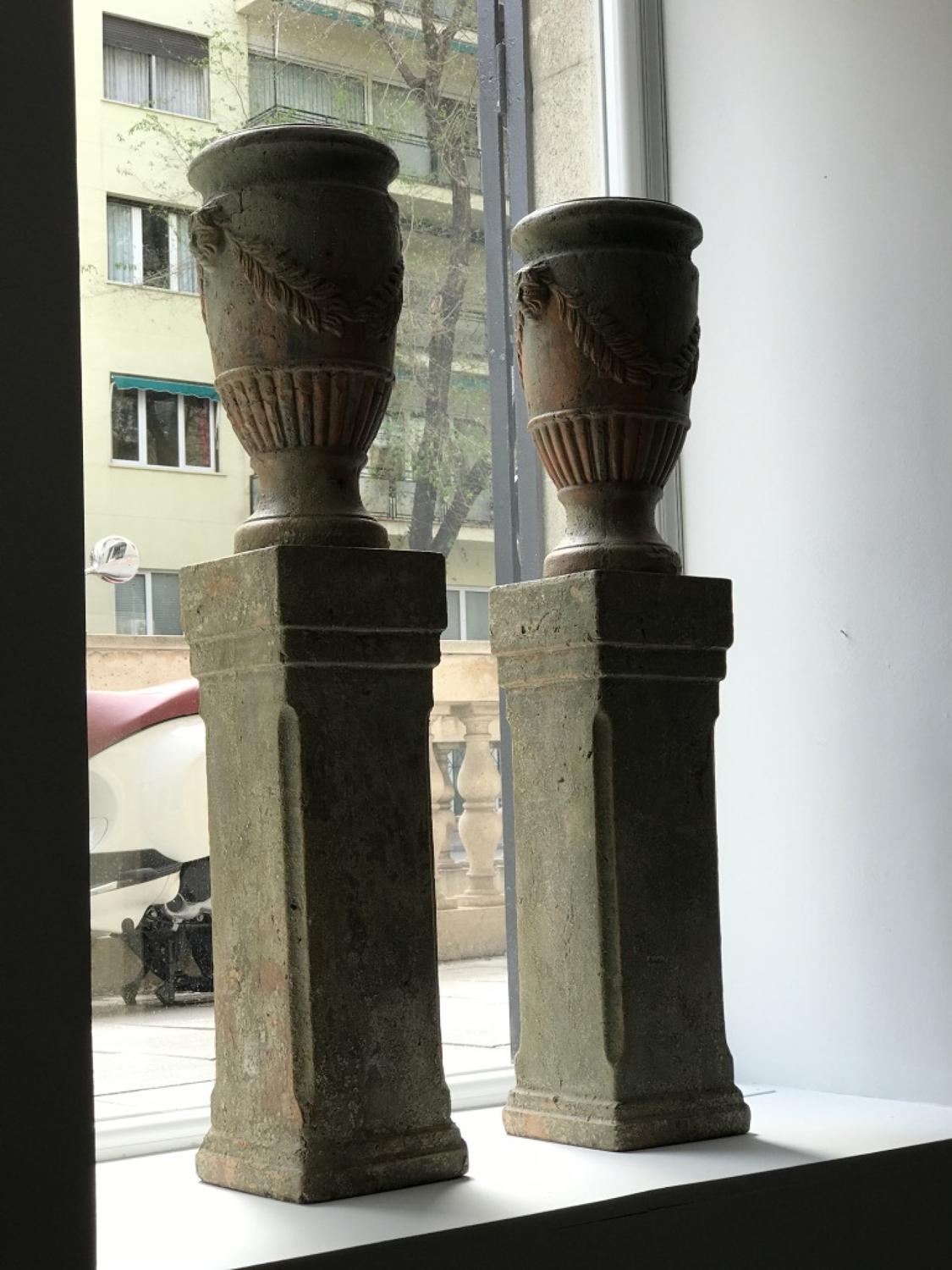 Pair of French Terracotta Urns on Plinths, 19th Century