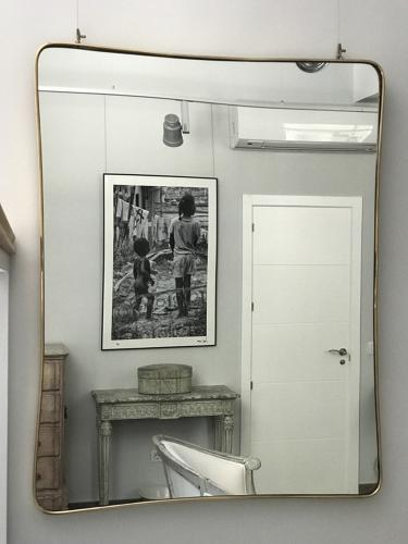 Italian Mid-Century Gilt Brass Mirror