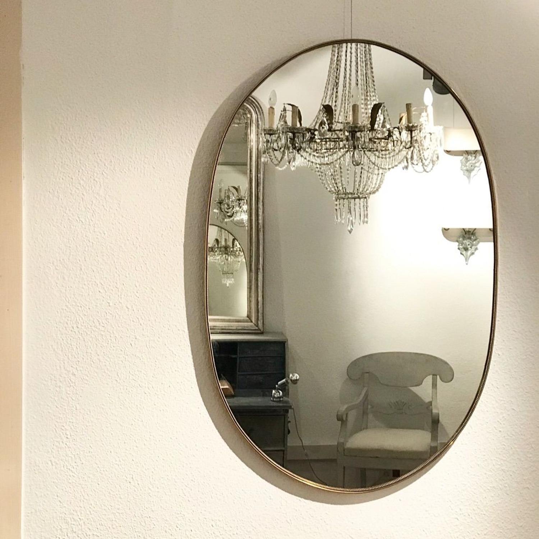 Italian Oval Brass Mirror, Circa 1950