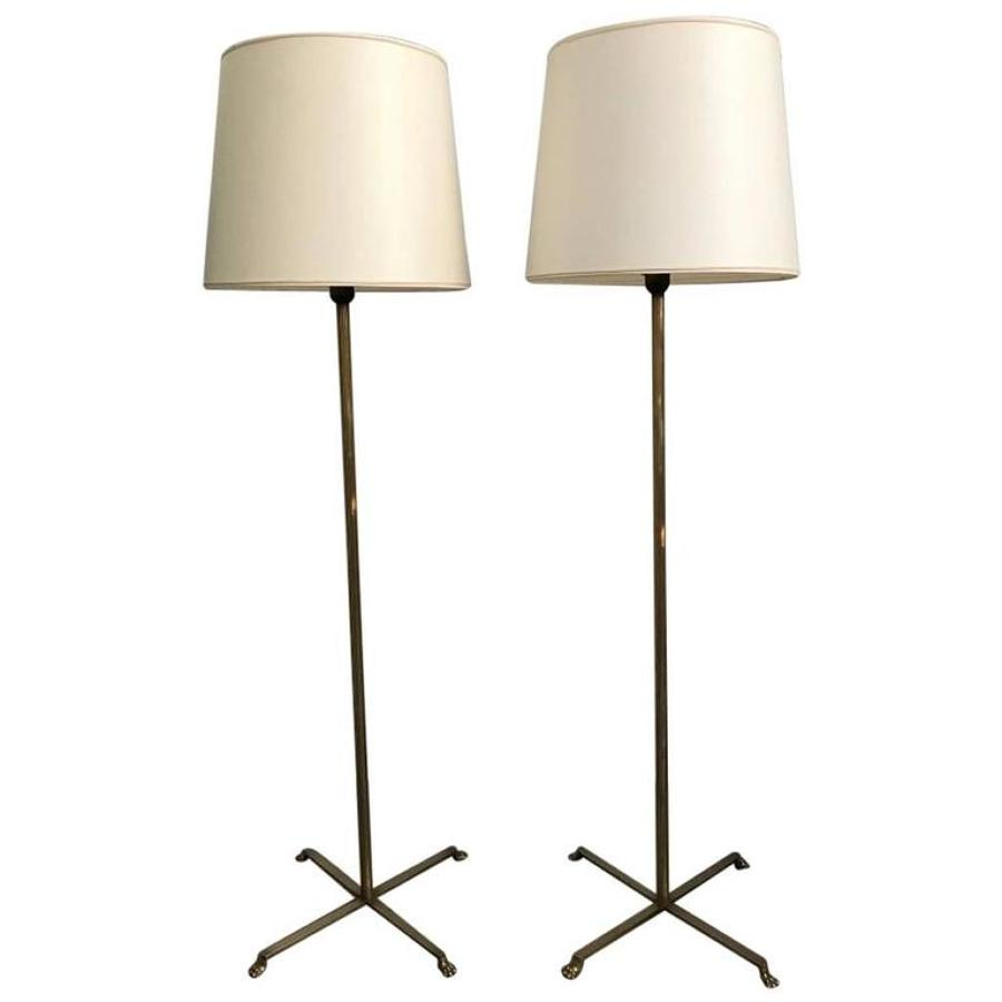 Pair of French Neoclassical Style Floor Lamps, Circa 1950
