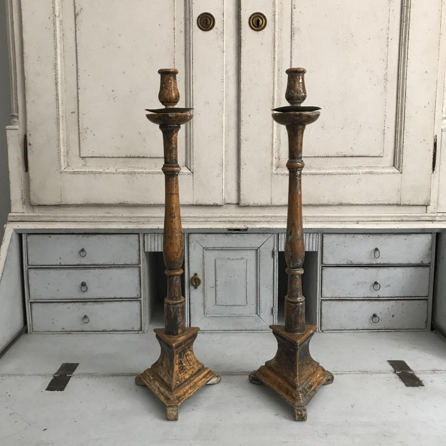Pair of Spanish Candlesticks, 18th Century