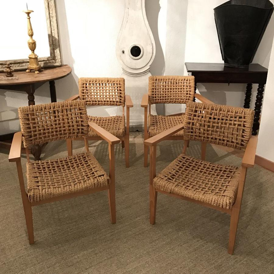 Set of 4 Armchairs Audoux & Minet, 1950s