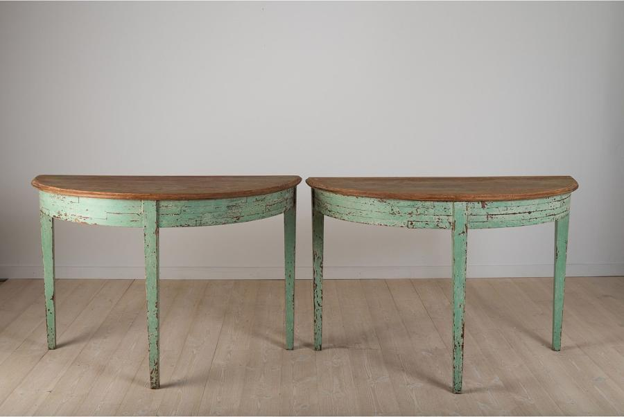 Pair of Swedish Demi-Lune Console Tables, 1850