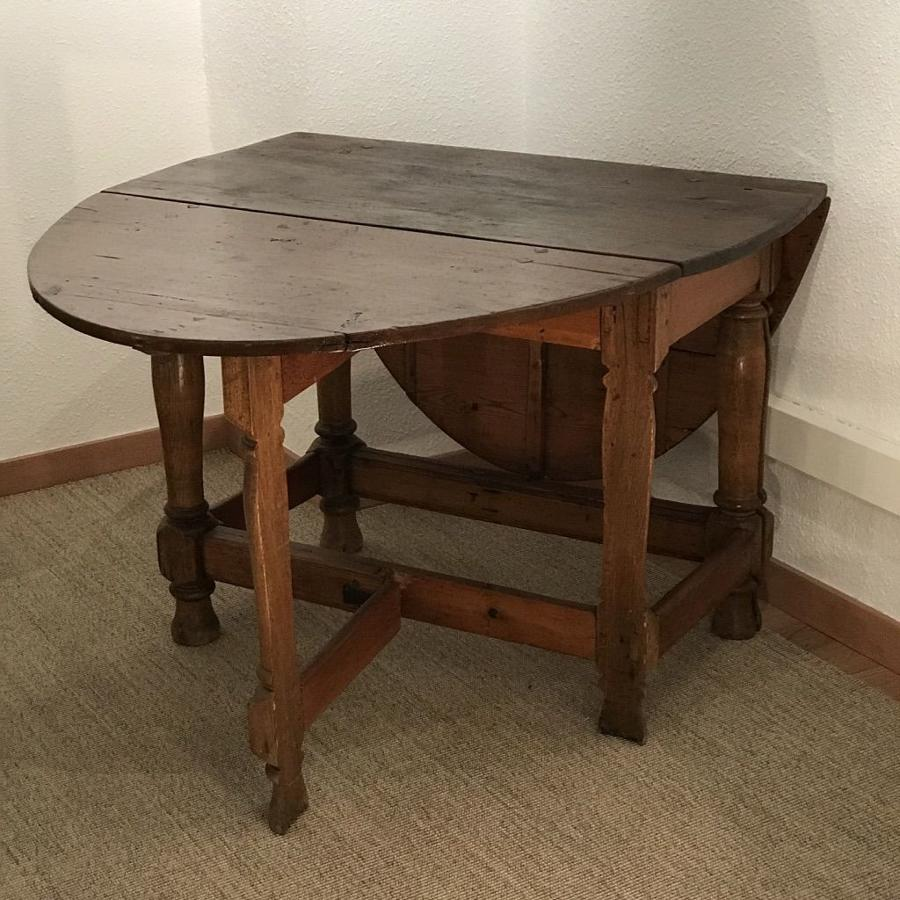 Swedish Baroque Drop-Leaf Table, Circa 1790