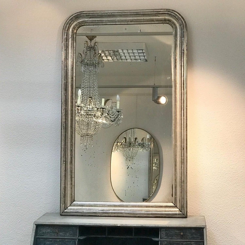 Louis Philippe Silver Leaf Mirror, Circa 1850