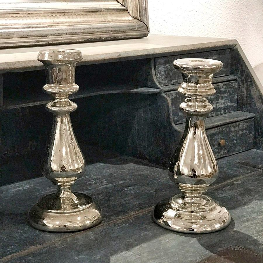 French Mercury Glass Candlesticks, 19th Century