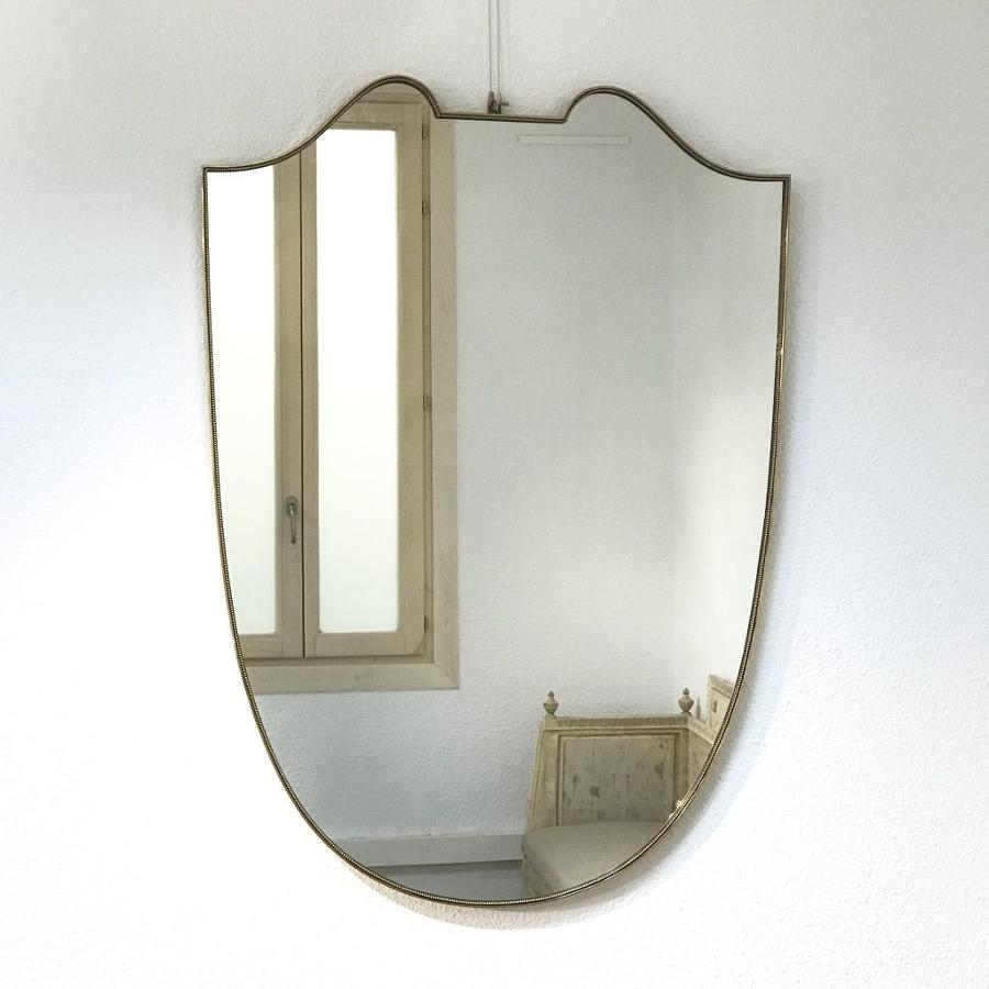 Italian Gilt Brass Mirror, 1950s