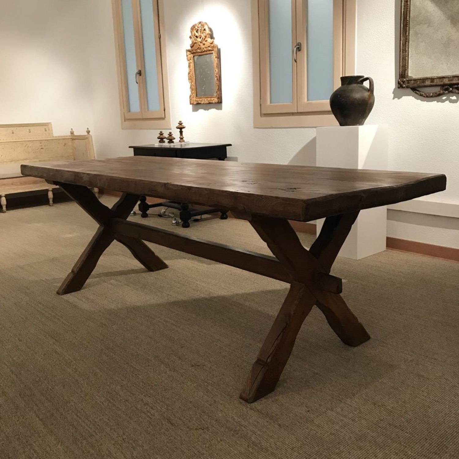 French X Frame Dining Table, 19th Century