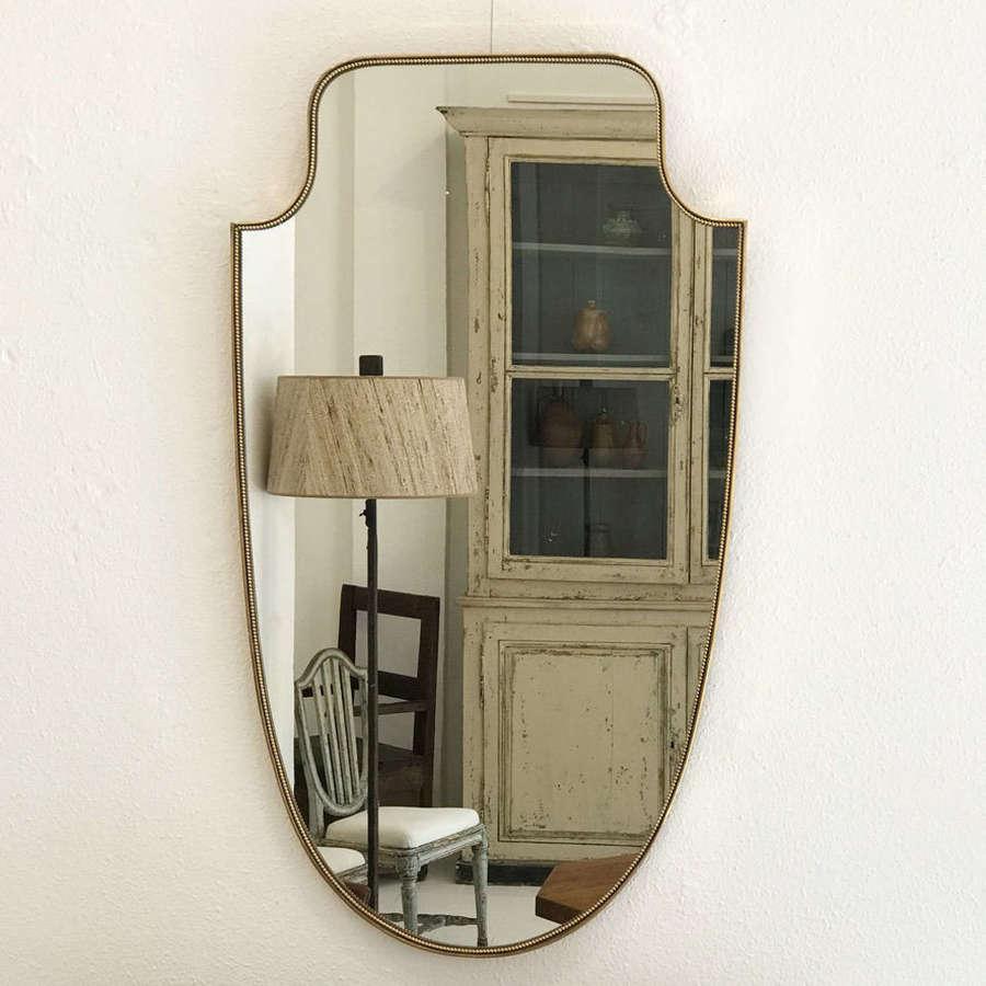 Italian Gilt Brass Mirror, 1950